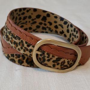 Betsey Johnson Brown Animal Print Reversible Belt